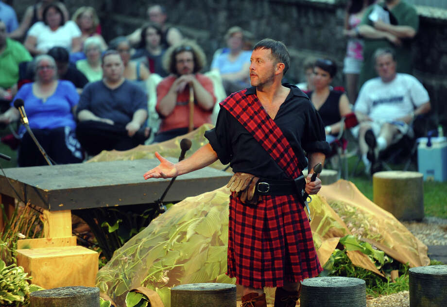 John Bachelder, as Macbeth, during The Players at Putney Gardens performance of William Shakespeare's The Tragedy of Macbeth at Boothe Memorial Park in Stratford, Conn. on Friday July 19, 2013. The show continues Fridays and Saturdays July 12 through August 3rd at 8 p.m. Photo: Christian Abraham / Connecticut Post