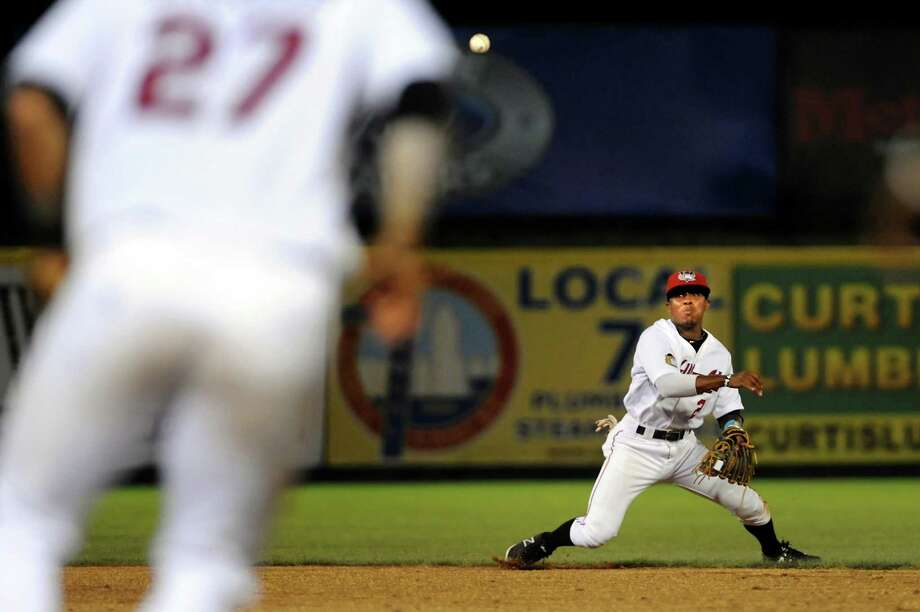 ValleyCats Tony Kemp, right, makes a play to first base during their baseball game against the Auburn Doubledays on Friday, July 19, 2013, at Bruno Stadium in Troy, N.Y. (Cindy Schultz / Times Union) Photo: Cindy Schultz / 00023163A