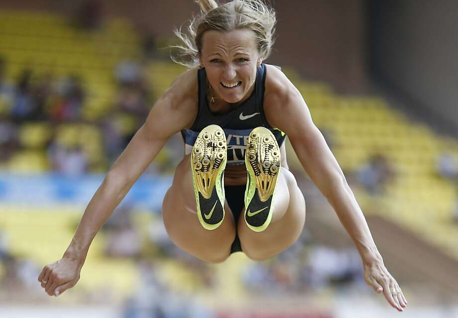 Latvia's Lauma Griva competes in the long jump contest of the IAAF Diamond League Herculis meeting at the Stade Louis II on July 29, 2013 in Monaco. AFP PHOTO / VALERY HACHEVALERY HACHE/AFP/Getty Images Photo: Valery Hache, AFP/Getty Images