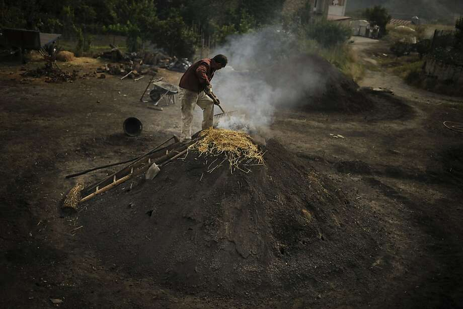 Jose Antonio, 55, climbs the mountain of charcoal he is preparing, to sell during the summer season in his small town of Viloria, northern Spain on Friday, July 19, 2013.  Charcoal making by heating wood under a mound of earth is an old tradition in the mountain villages in the north of Spain . (AP Photo/Alvaro Barrientos) Photo: Alvaro Barrientos, Associated Press