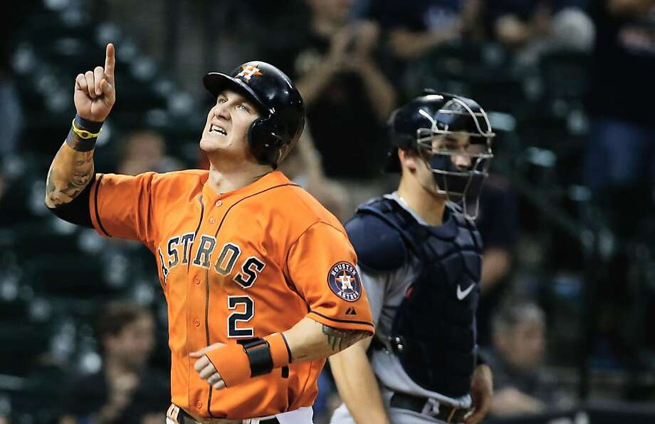 HOUSTON, TX - JULY 19:  Brandon Barnes #2 of the Houston Astros scores a run in the eighth inning against the Seattle Mariners at Minute Maid Park on July19, 2013 in Houston, Texas.  (Photo by Scott Halleran/Getty Images) Photo: Scott Halleran, Getty Images