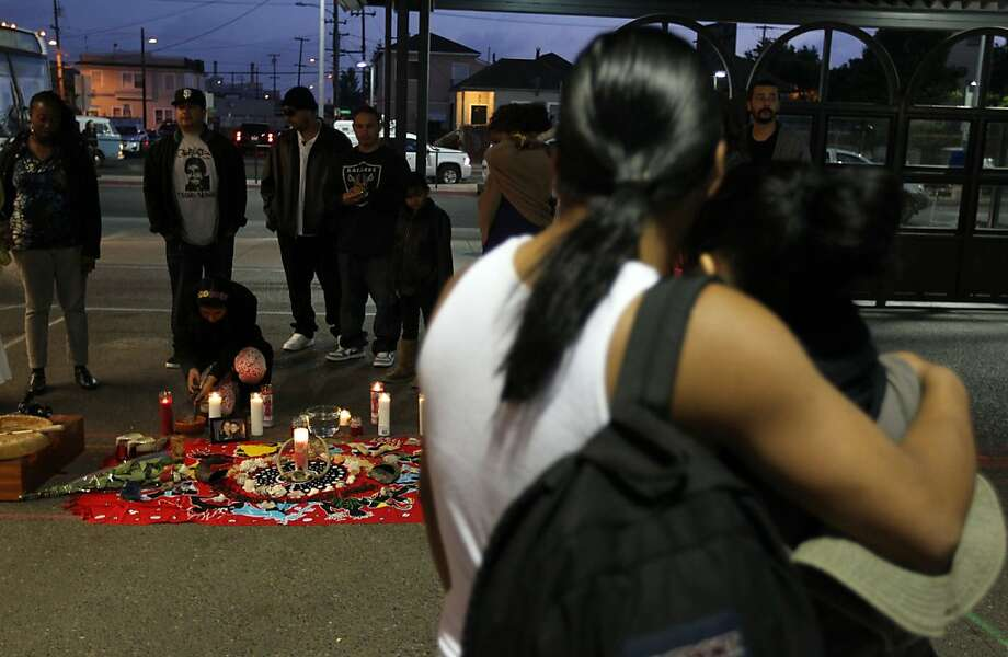 People protesting the verdict in the George Zimmerman trial set up an altar at the Fruitvale BART station, after walking from Frank H. Ogawa Plaza to the station, were they held a candlelight ceremony in honor of Trayvon Martin. Photo: Lance Iversen, The Chronicle