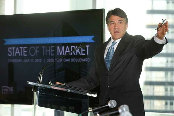 Gov. Rick Perry, R-Texas, gives the keynote address during the Stream Realty State of the Market event Thursday, July 11, 2013, in Houston. ( Brett Coomer / Houston Chronicle )