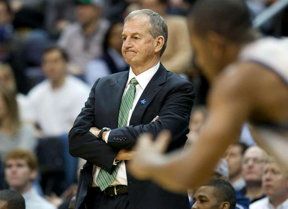 Connecticut head coach Jim Calhoun looks on during the first half of an NCAA basketball game against Georgetown on Saturday, Jan. 9, 2010, in Washington. Georgetown defeated Connecticut 72-69.  (AP Photo/Evan Vucci) Photo: Evan Vucci, AP / AP