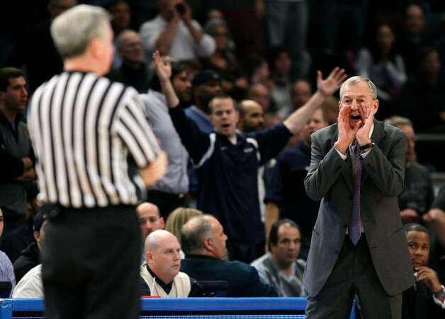Connecticut head coach Jim Calhoun yells at the referee after being charged with a technical foul during the first half of an NCAA college basketball game against Duke, Friday, Nov. 27, 2009, at Madison Square Garden in New York. (AP Photo/Julie Jacobson) Photo: Julie Jacobson, AP / AP