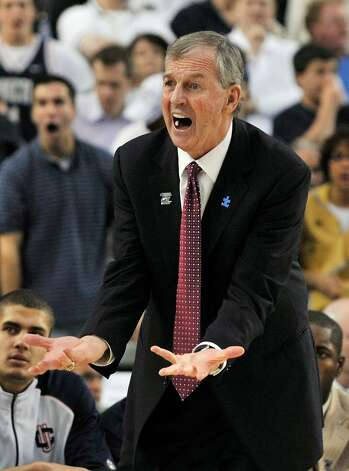 Jim Calhoun shouts at officials during the second half of a men's NCAA college basketball tournament regional semifinal against Purdue in Glendale, Ariz., Thursday, March 26, 2009. (AP Photo/Chris Carlson) Photo: Chris Carlson, AP / AP