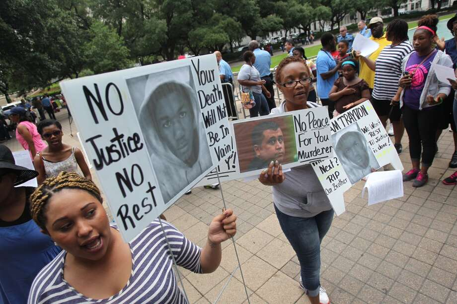 Houstonians join cities across the country in peaceful protesting for Trayvon Martin at City Hall on July 20, 2013 in Houston.
