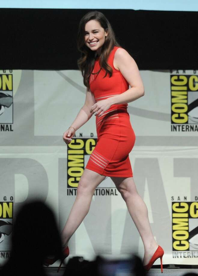 "Actress Emilia Clarke speaks onstage during the ""Game Of Thrones"" panel during Comic-Con International 2013 at San Diego Convention Center on July 19, 2013 in San Diego, California.  (Photo by Kevin Winter/Getty Images)"