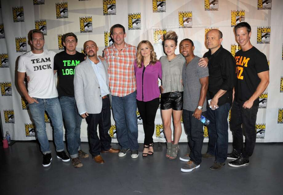 "(L-R) Actor Ryan Hansen, actor Chris Lowell, actor Francis Capra, producer Rob Thomas, actress Kristen Bell, actress Tina Majorino, actor Percy Daggs III, actor Enrico Colantoni and actor Jason Dohring attend the ""Veronica Mars"" special video presentation and Q&A during Comic-Con International 2013 at San Diego Convention Center on July 19, 2013 in San Diego, California.  (Photo by Albert L. Ortega/Getty Images)"
