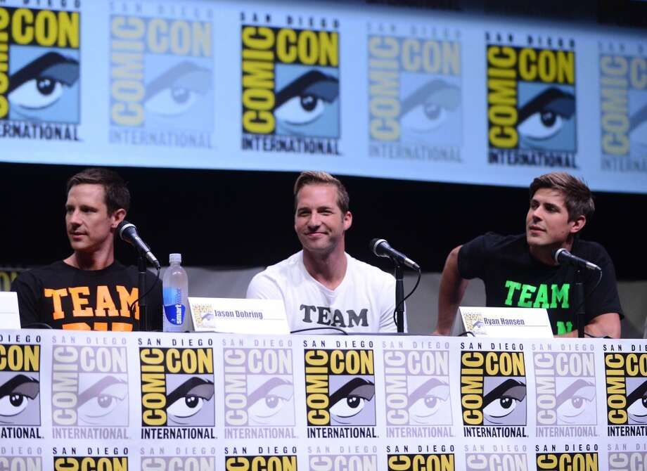 "(L-R) Actors Jason Dohring, Ryan Hansen and Chris Lowell speak onstage at the ""Veronica Mars"" special video presentation and Q&A during Comic-Con International 2013 at San Diego Convention Center on July 19, 2013 in San Diego, California.  (Photo by Albert L. Ortega/Getty Images)"