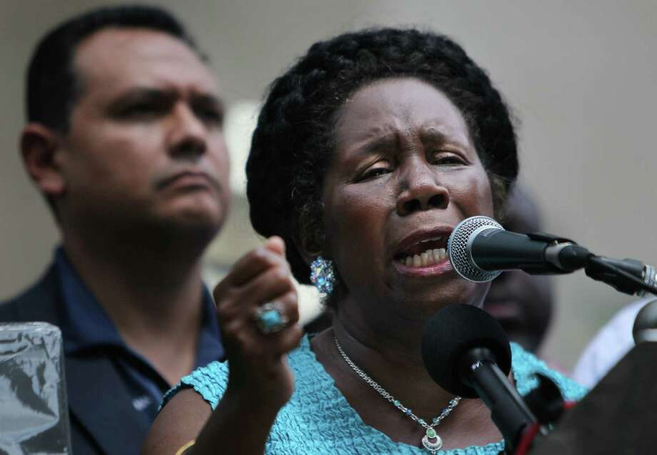 Sheila Jackson Lee is one of many speakers who attended the peace protest for Trayvon Martin at City Hall on Saturday, July 20, 2013, in Houston.  Reverend Al Sharpton and the National Action Network (NAN) are organized a national day of peaceful protest for 100 U.S. cities in response to the unjust verdict in the George Zimmerman trial. Photo: Mayra Beltran, Houston Chronicle / © 2013 Houston Chronicle