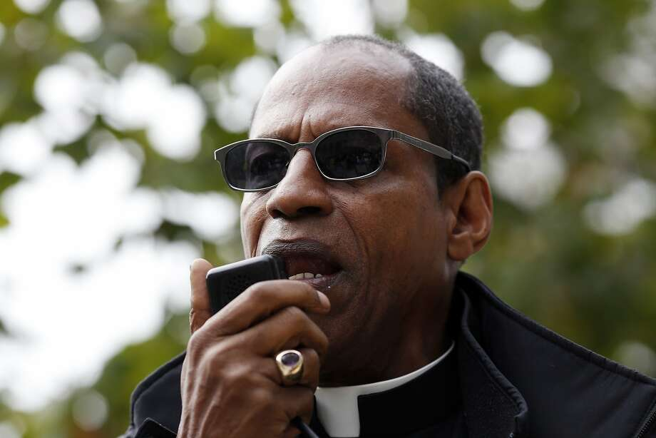 Archbishop Franzo King speaks during a protest against the verdict of the George Zimmerman trial outside of the San Francisco Federal Building in San Francisco, Calif. on July 20, 2013. Photo: Ian C. Bates, The Chronicle