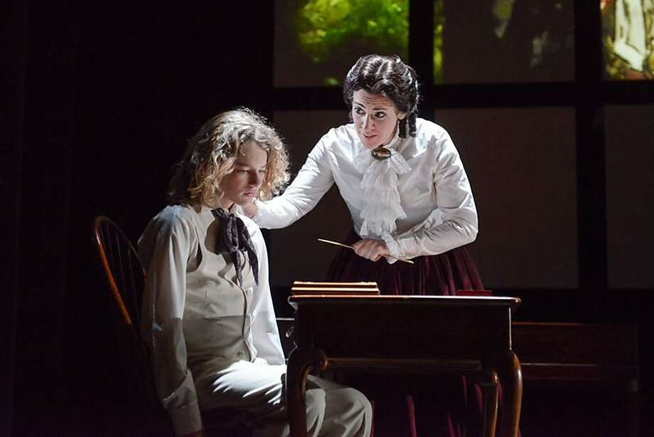 "Milo Boland (left) as Miles and Laura Bohn as the otherwise nameless Governess in West Edge's production of Britten's eerie ""Turn of the Screw."" Photo: Mellopix"