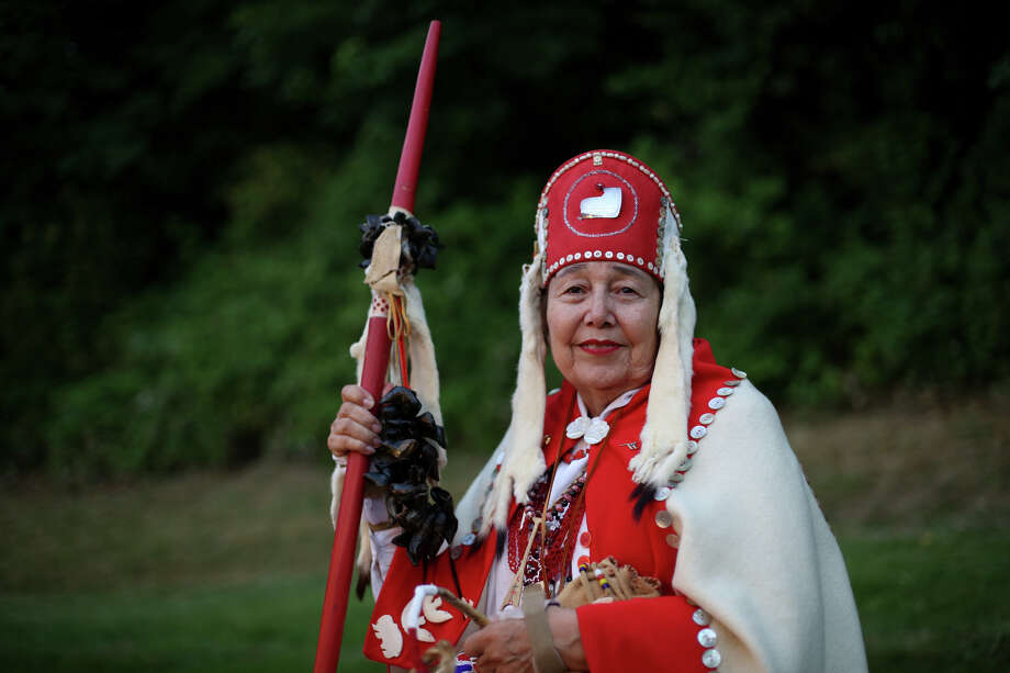 Anna Haala, wearing regalia of a Klinkat peace elder, is shown during the Seafair Indian Days Pow Wow at Daybreak Star in Discovery Park on Friday, July 19, 2013 in Seattle. One year after the event was cancelled because of a lack of funding, the pow wow returned with much fanfare and a grand entry on Friday evening. The event brings Native dancers and drummers from around North America where the dancers compete in their impressive regalia during the event. The pow wow also features Native arts vendors and food booths. Photo: JOSHUA TRUJILLO, SEATTLEPI.COM / SEATTLEPI.COM