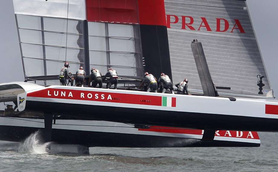 Italy's Luna Rossa Challenge sails unopposed for a point in a round-robin race in the Louis Vuitton Cup challenger series. Luna Rossa trails New Zealand 5-3. Photo: Paul Chinn, The Chronicle
