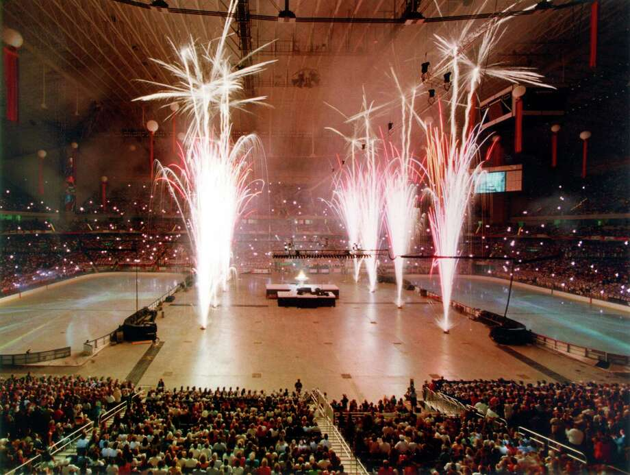 Indoor fireworks were a part of the opening ceremonies of the 1993 U.S. Olympic Festival in the Alamodome on July 23. Although rising costs forced cancellation of the festival a few years later, the '93 event showcased the new dome, and helped establish San Antonio as a viable site for major sports events. Photo: San Antonio Express-News File Photo / SAN ANTONIO EXPRESS-NEWS