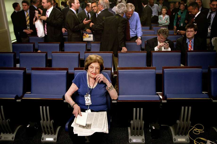 Long-time White House correspondent Helen Thomas takes up her seat on the front row of the remodeled James S. Brady Press Briefing Room in the West Wing of the White House July 11, 2007 in Washington, DC. The briefing room was closed for about one year to update broadcast technology, remove asbestos and remodel the space. Photo: Chip Somodevilla, Getty Images / 2007 Getty Images