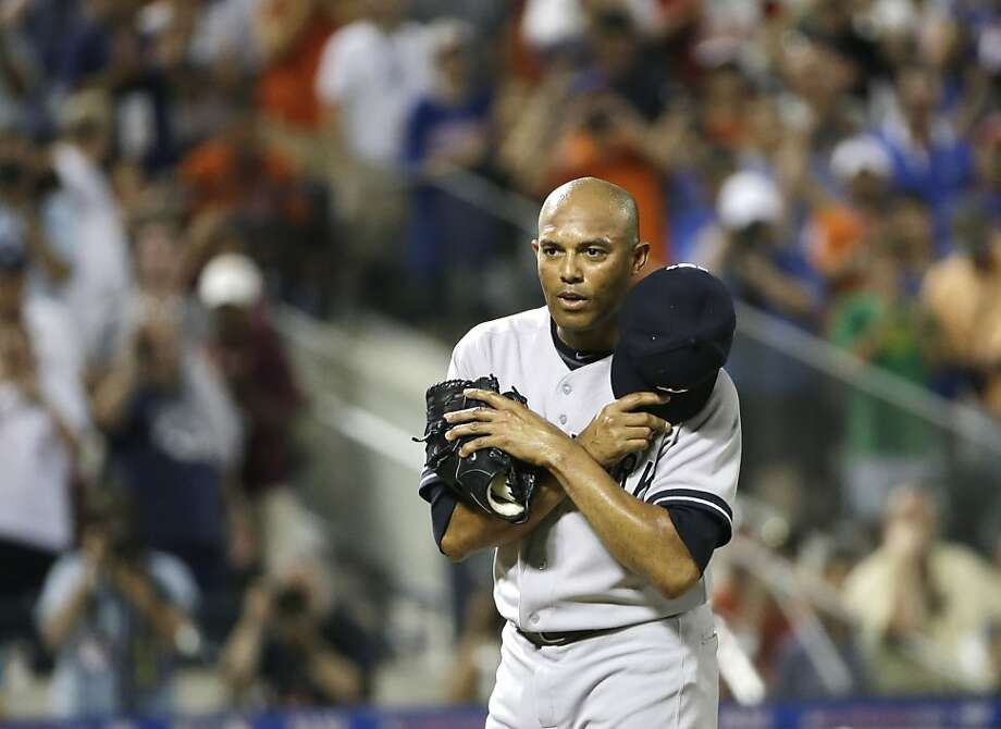 Mariano Rivera held his emotions close to the vest long enough to get his first hold since 1996. Photo: Matt Slocum, Associated Press