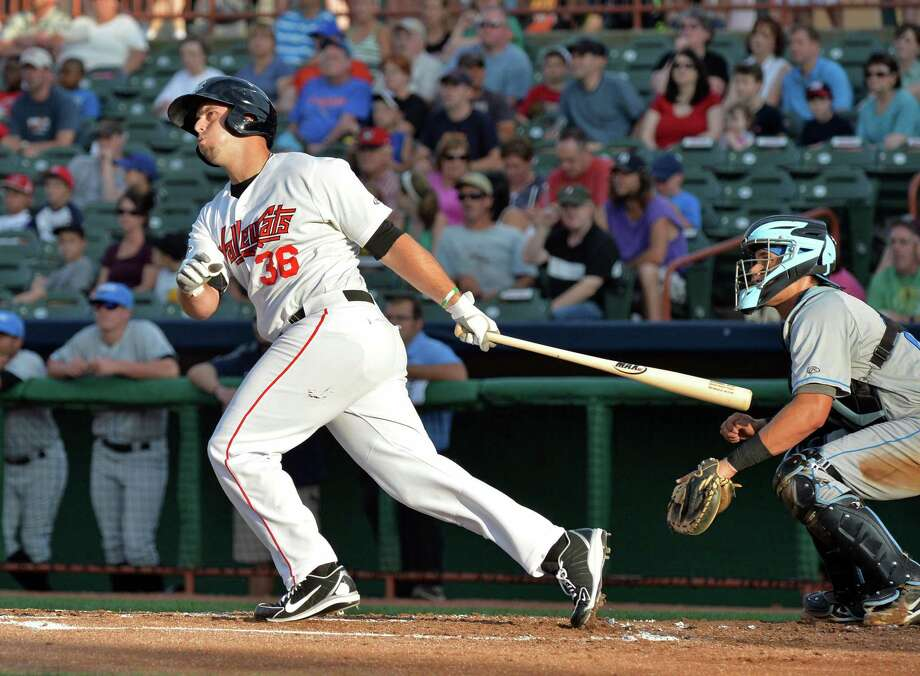 Tri-City Valley Cat's DH Michael Martinez hits a two-run homer against Hudson Valley at Joe Bruno Stadium in Troy, NY, Saturday July 20, 2013.  (John Carl D'Annibale / Times Union) Photo: John Carl D'Annibale / 00023164A