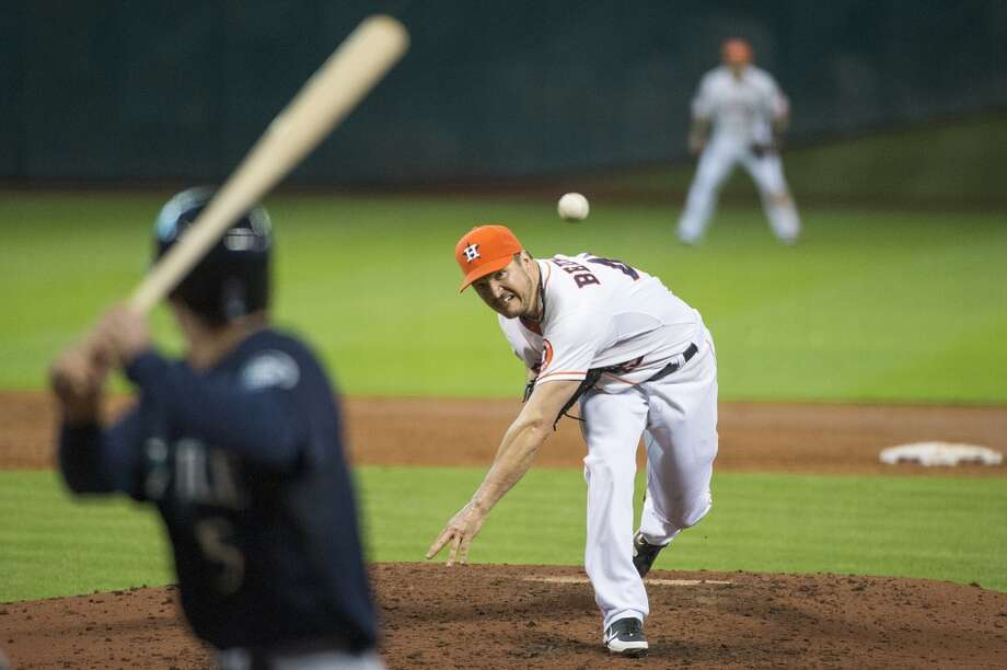 Astros starting pitcher Erik Bedard pitches to Mariners shortstop Brad Miller during the sixth inning.