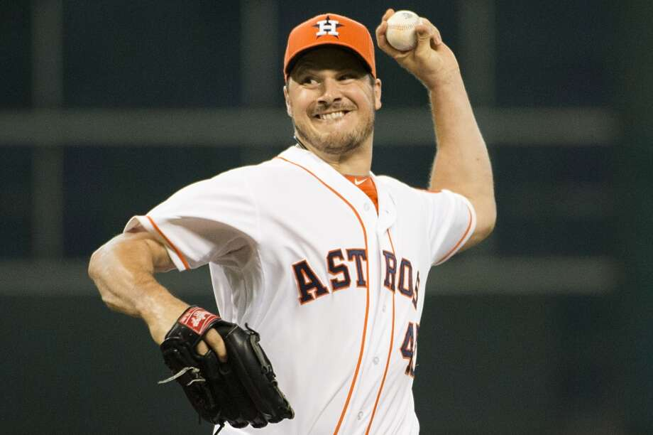 Houston Astros starting pitcher Erik Bedard pitches during the first inning.