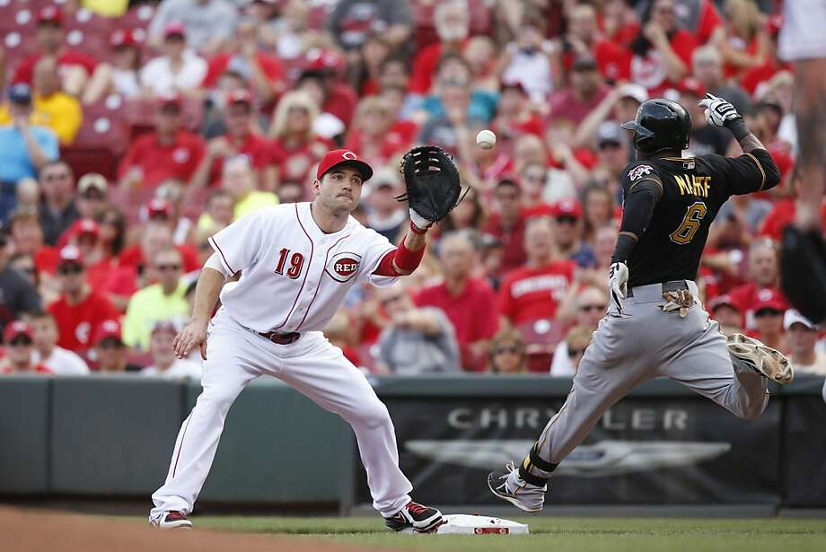 CINCINNATI, OH - JULY 20: Joey Votto #19 of the Cincinnati Reds takes the throw at first base ahead of Starling Marte #6 of the Pittsburgh Pirates in the first inning of the game at Great American Ball Park on July 20, 2013 in Cincinnati, Ohio. (Photo by Joe Robbins/Getty Images) Photo: Joe Robbins, Getty Images