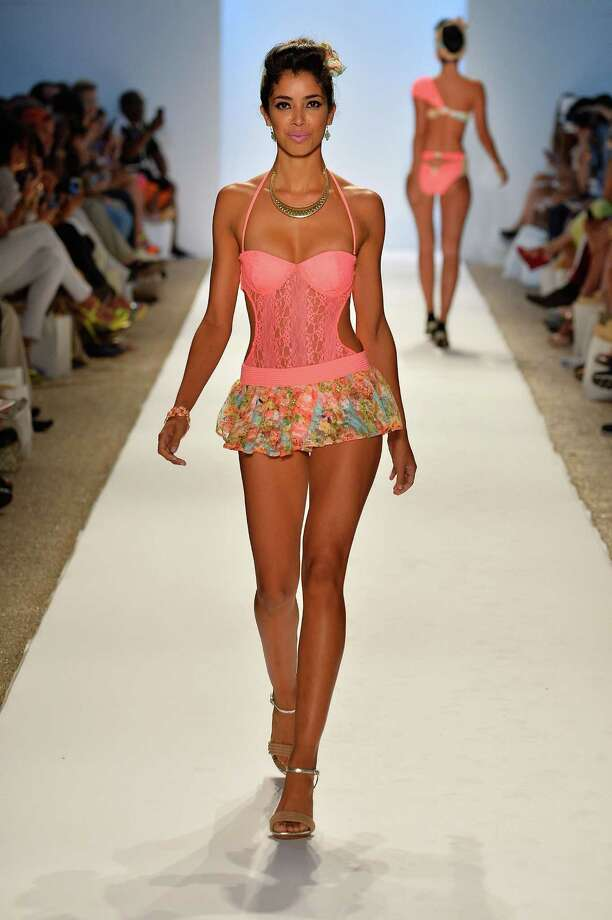 A model walks the runway at the Nicolita show. Photo: Frazer Harrison, Getty Images For Mercedes-Benz / 2013 Getty Images