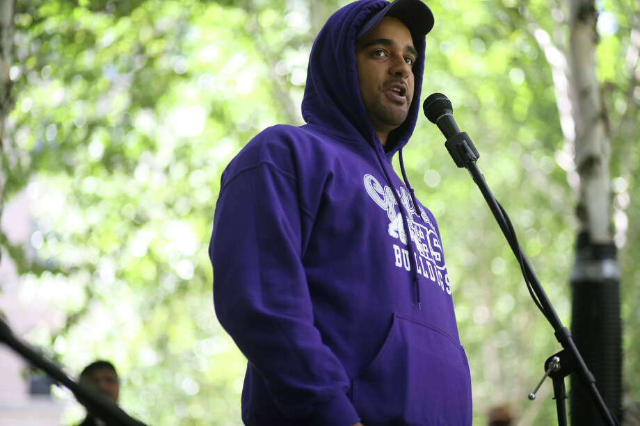 Jesse Hagopian, a Garfield High School teacher, speaks during a gathering to protest the killing of Trayvon Martin and the acquittal of George Zimmerman, the man that shot Martin. A few hundred people gathered for a rally at the Federal Courthouse on Stewart and then a march along 5th Avenue. Photographed on Saturday, July 20, 2013. Photo: JOSHUA TRUJILLO, SEATTLEPI.COM / SEATTLEPI.COM