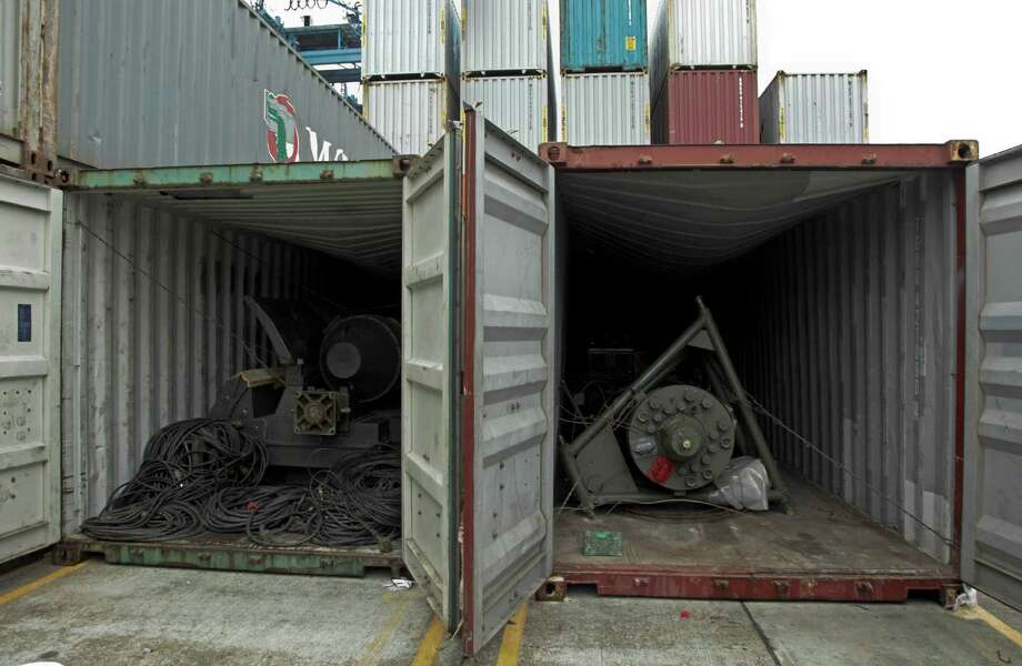 Antiquated military equipment are revealed in two recently opened containers aboard the North Korean-flagged freighter Chong Chon Gang, at the Manzanillo International container terminal on the coast of Colon City, Panama, Wednesday, July 17, 2013. Cuba said military equipment found buried under sacks of sugar on the North Korean ship seized as it tried to cross the Panama Canal was obsolete weaponry from the mid-20th century that it had sent to be repaired. Panamanian authorities said it might take a week to search the ship. Photo: AP