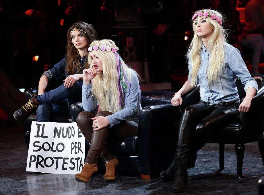 "Representatives of Kiev-based Ukrainian protest group 'Femen' attend ""Chiambretti Night"" Italian TV Show on February 4, 2012 in Milan, Italy. Photo: Stefania D'Alessandro, Getty Images / 2012 Stefania D'Alessandro"