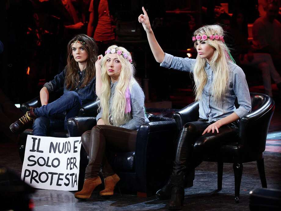 "Representatives of Kiev-based Ukrainian protest group 'Femen' attend ""Chiambretti Night"" Italian TV Show on February 4, 2012 in Milan, Italy. Photo: Stefania D'Alessandro, Getty Images / 2012 Stefania D'Alessandro"