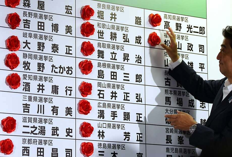 Shinzo Abe, Japan's prime minister, places a paper rose on his party's candidate to indicate a win. Photo: Tomohiro Ohsumi, Bloomberg