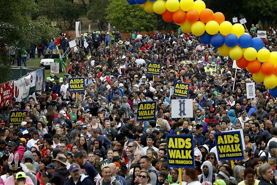 Thousands approached the starting line to begin the 10K walk Sunday July 21, 2013. The 27th annual AIDS Walk San Francisco attracted thousands of participants on a chilly foggy morning in Golden Gate Park. Photo: Brant Ward, The Chronicle