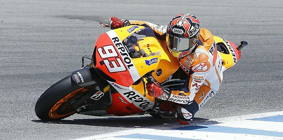 Marc Marquez's win at Laguna Seca was his third of the year and second in a row in the MotoGP series, which he leads. Photo: Ben Margot, Associated Press