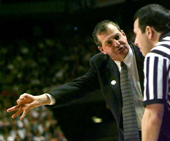 University of Connecticut basketball coach Jim Calhoun argues a point with a refree during the second half of the semifinal game against Mississippi State in the NCAA Southeast Regional on Friday, March 22, 1996, at Rupp Arena in Lexington, Ky.   Mississippi State upset Connecticut 60-55. Photo: AL BEHRMAN, AP Filre Photo/Al Behrman / AP