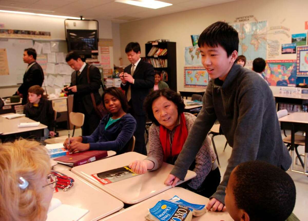 Chinese educators visit Scofield Magnet Middle School in Stamford, Tuesday morning Jan. 19th, 2010.