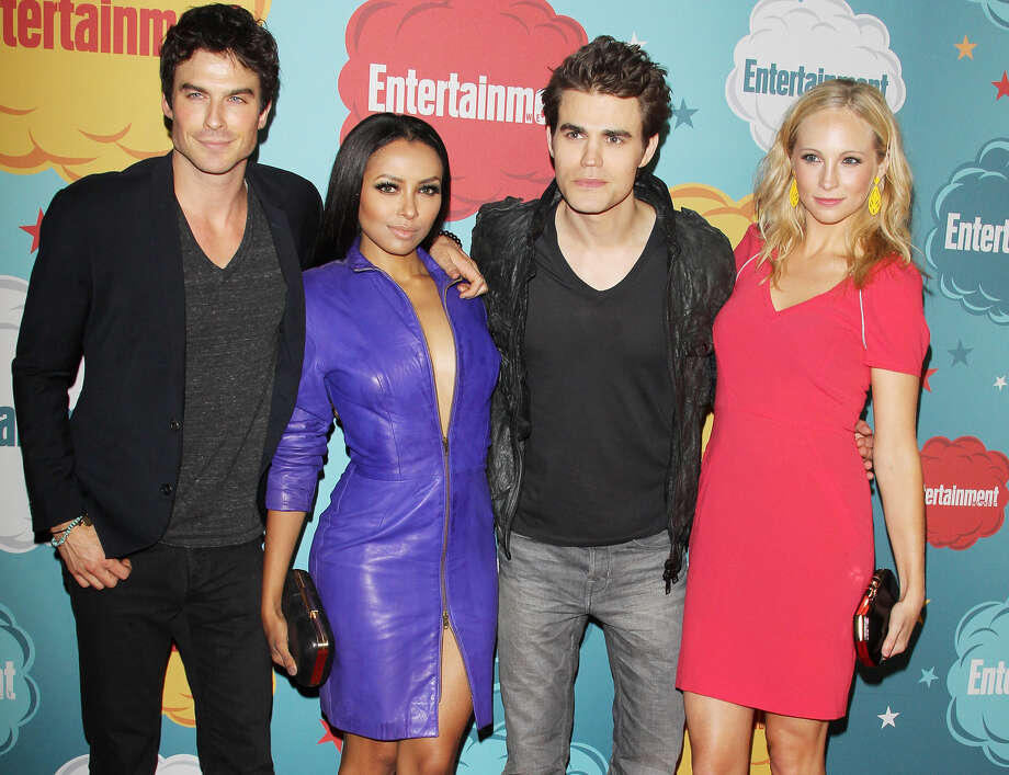 (L-R) Ian Somerhalder, Kat Graham, Paul Wesley and Candice Accola arrive at the Entertainment Weekly's Annual Comic-Con celebration held at Float at Hard Rock Hotel San Diego on July 20, 2013 in San Diego. Photo: Michael Tran, FilmMagic / Getty Images