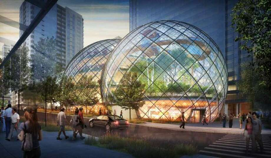 Amazon's plan, which calls for lots of open space, is scheduled for its second design review in August. Said the company:   ''The curvilinear form sets it apart from its immediate surroundings, and consciously avoids the look of a typical corporate office building.''