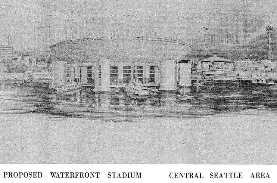 Floating stadium: Another idea that fizzled. King County officials actually supported this 1963 plan, which called for a floating pro-sports, retractable-roof stadium on Elliott Bay. You could get there by ferry, rail, bus, seaplane and monorail, the designers envisioned. 