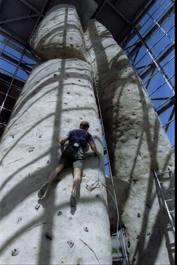 It's the climbing pinnacle at the REI's flagship Seattle store. When it opened in 1996, it was hailed for its eco-nerdery, bike-testing trail and Northwest beauty. But it had one goofy idea that didn't last (see last photo).