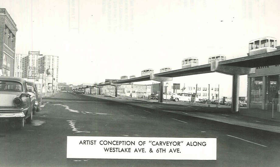 So was this 1958 idea for a people-mover on Westlake Ave. called the ''Carveyor.'' It was envisioned to go to Interbay and turn around in a merry-go-round-looking terminal. Photo: Seattle Municipal Archives, Flickr