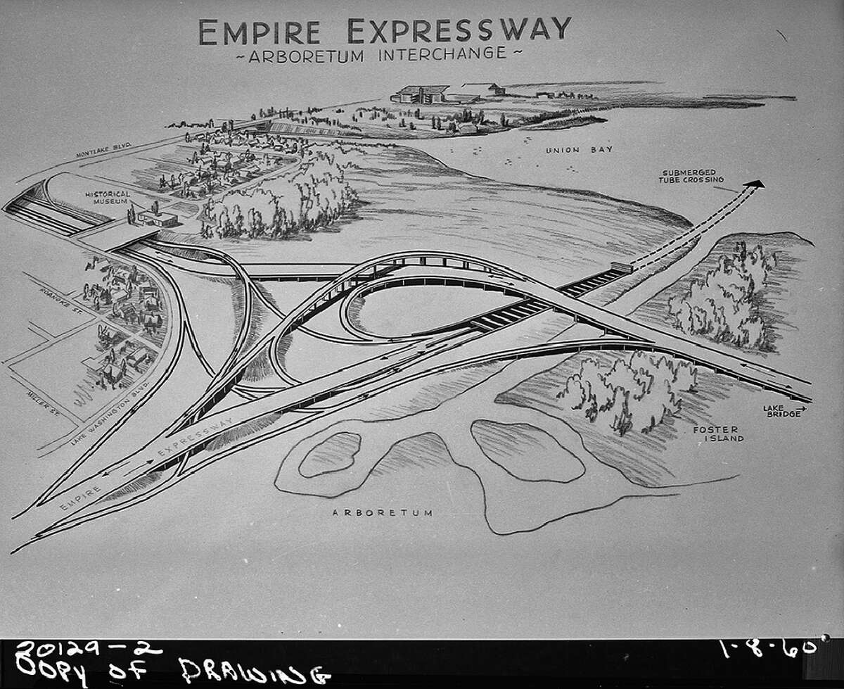 Pictured is the proposed Arboretum interchange in 1960 for the thwarted R.H. Thomson Expressway.