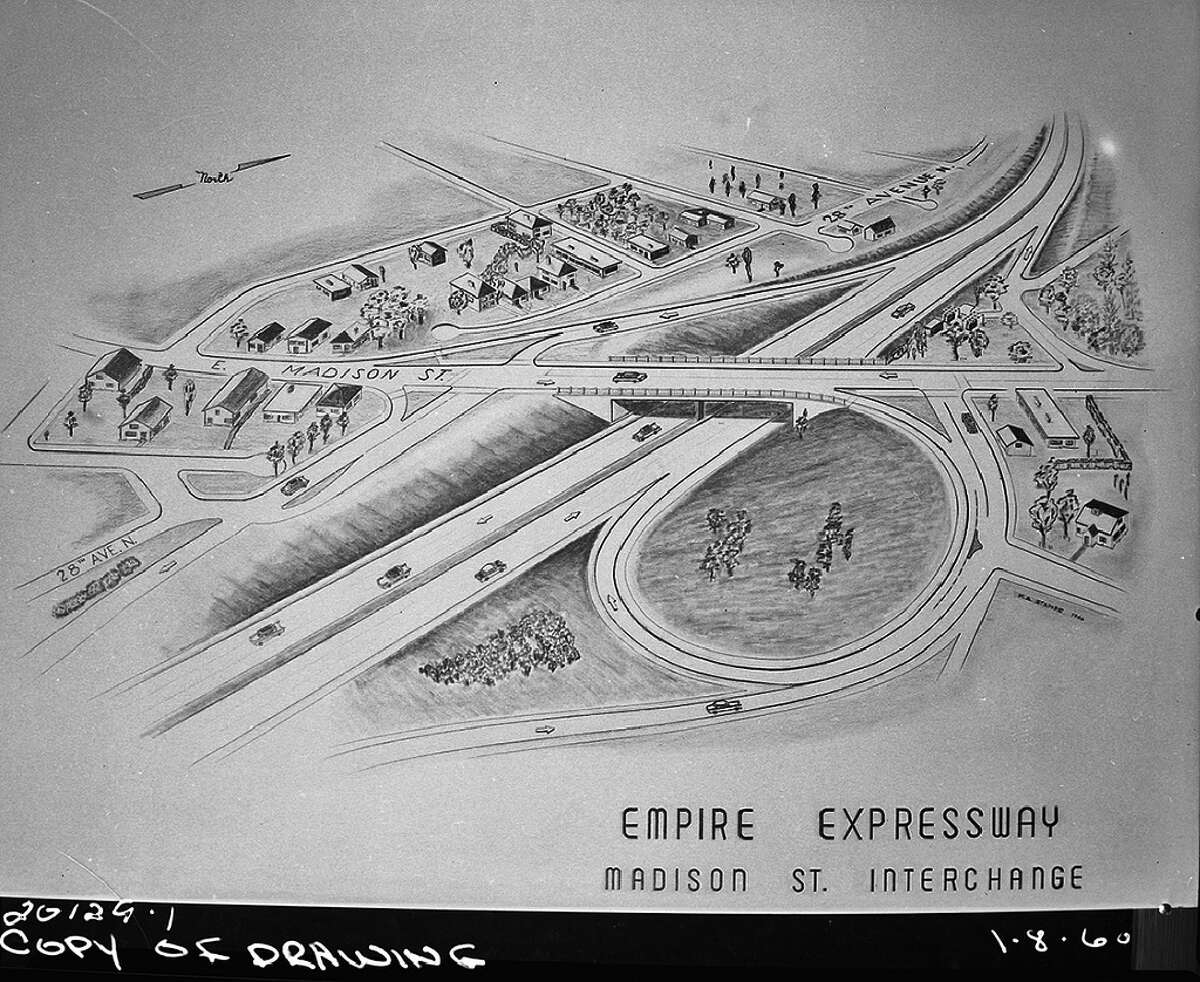 A sketch of the proposed R.H. Thomson Expressway, scrapped in 1971, after neighborhood outcry. Pictured is the planned Madison Street interchange, which would have ruined the Central District.