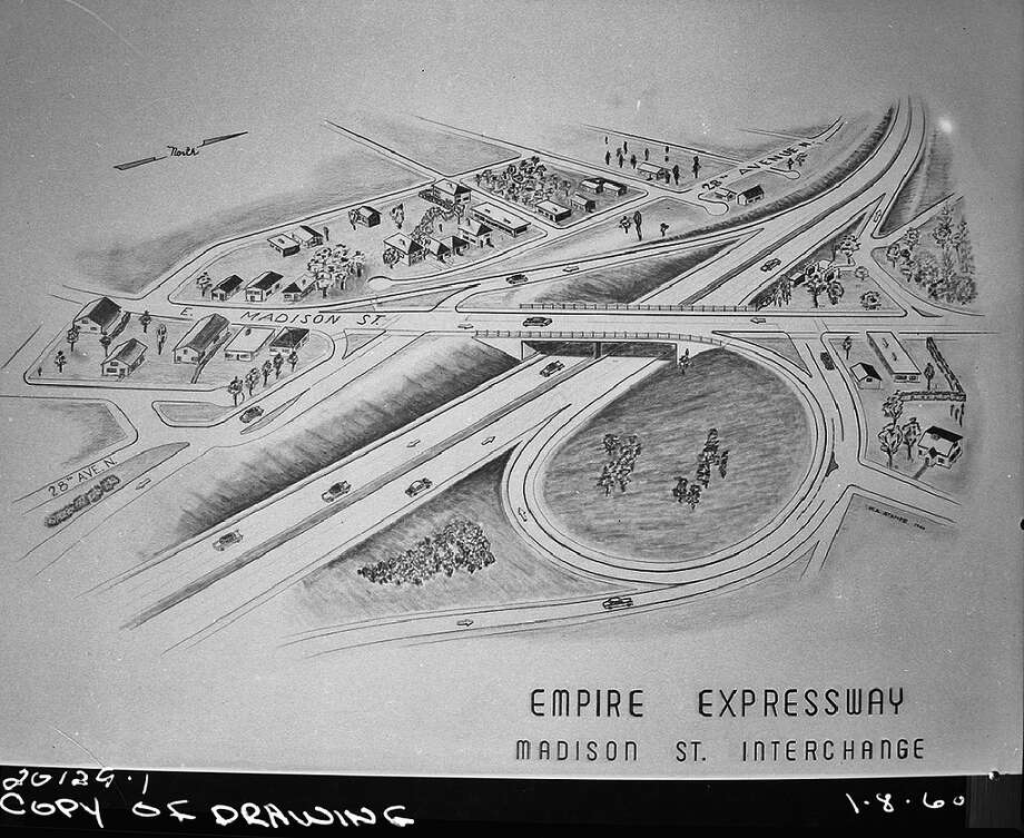 Another sketch of the R.H. Thomson Expressway, scrapped in 1971, after neighborhood outcry. Pictured is the planned Madison Street interchange, which would have ruined the Central District. Photo: Seattle Municipal Archives, Flickr