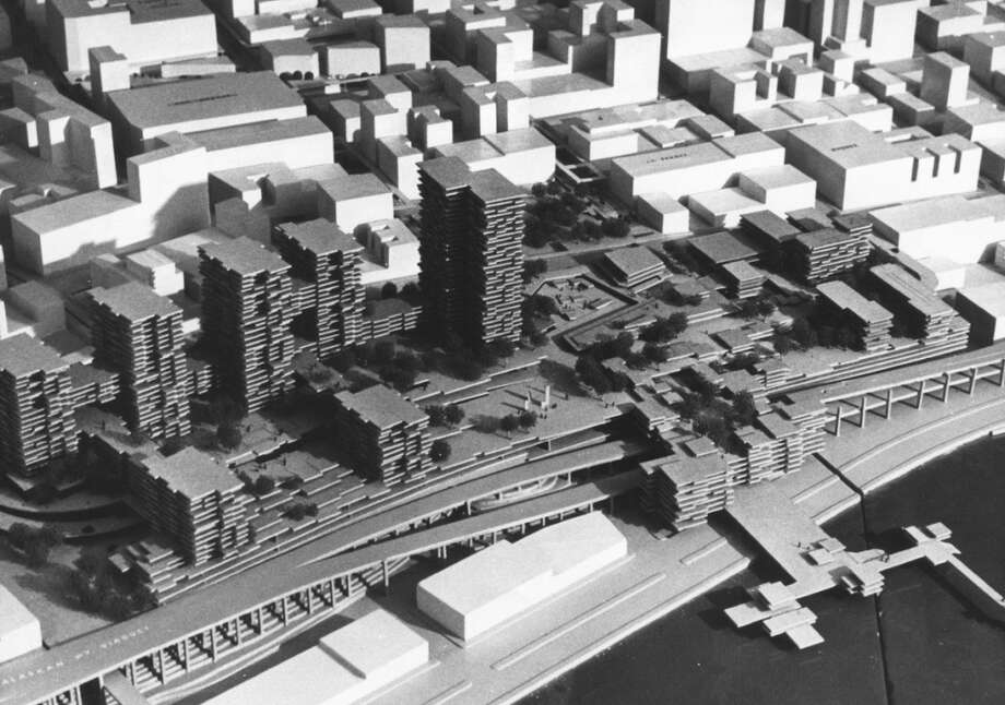 This grim-looking model called for high-rises at the Pike Place Market, as part of a 1968 urban renewal plan. Or, as Flickr user fnarf described it: ''Pretty interesting architecture, actually, in a Death Star kind of way.''