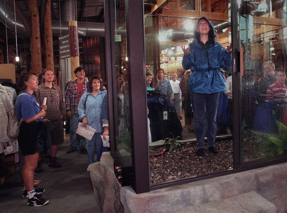 Last best crackpot idea in Seattle: The REI rain shower, which was a way to test raingear. It was a fun, nifty feature when the flagship store opened in 1996. But it was silly  and didn't last long.