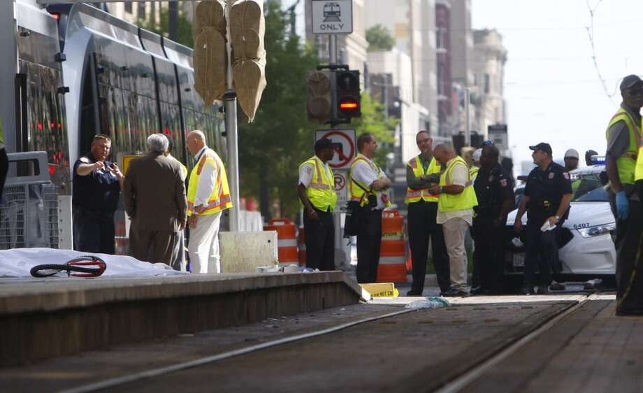 A train hit a pedestrian at about 8:10 a.m. Monday on Main near Walker. (Cody Duty / Houston Chronicle)