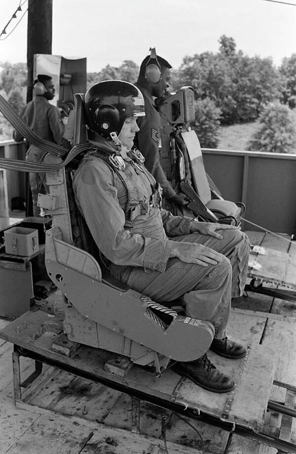Neil Armstrong during parachute training at Perrin AFB in Sherman, Texas
