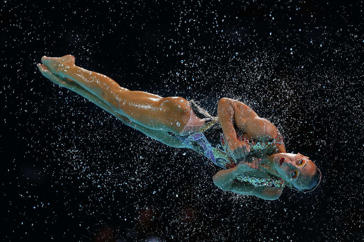 Canadas compete in the Synchronized Swimming Free Combination preliminary round on day two of the 15th FINA World Championships at Palau Sant Jordi on July 21, 2013 in Barcelona.