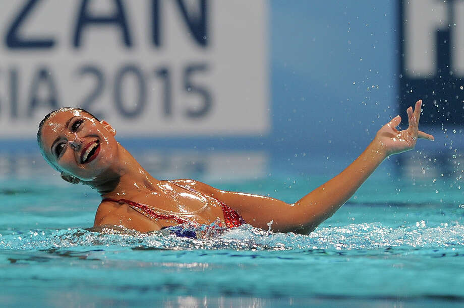 Egypt's Reem Wail  competes in the solo free preliminary round during the synchronized swimming competition in the FINA World Championships at the Palau Sant Jordi in Barcelona, on July 22, 2013. Photo: JOSEP LAGO, AFP/Getty Images / 2013 AFP